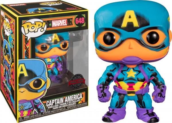Marvel Funko Pop! Vinylfigur Black Light Captain America 648 (Special Edition)