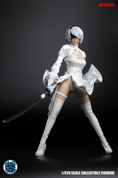 SUPER DUCK 1/6 White Sexy Female White Robot (Costume & Head Set)