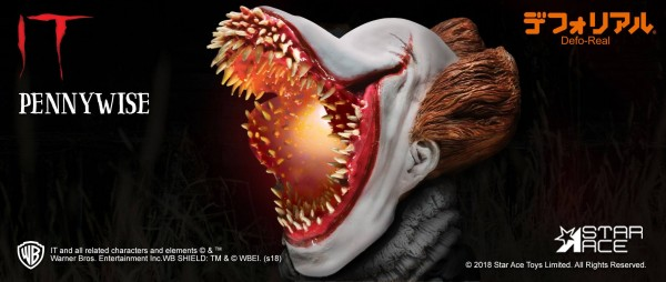 Stephen Kings Es 2017 Deform Real Series Soft-Vinyl Statue Pennywise mit Leuchtfunktion (Scary Versi