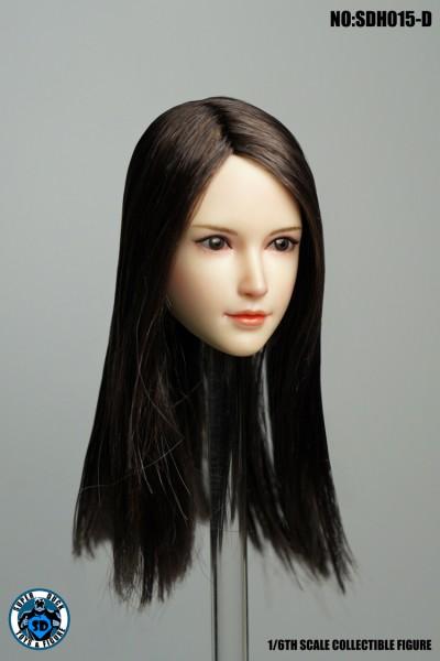 SUPER DUCK 1/6 Girl Black Hair Head (Pale Skin)