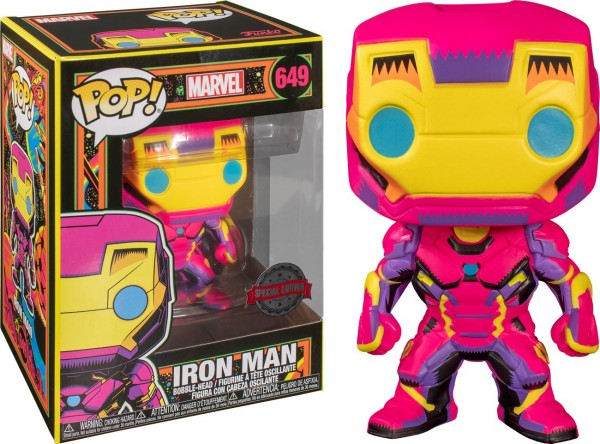 Marvel Funko Pop! Vinylfigur Black Light Iron Man 649 (Special Edition)