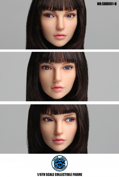 SUPER DUCK 1/6 Girl Brown Hair Head (Eyeball Rolling System)