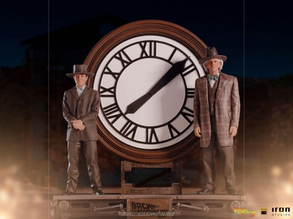 Zurück in die Zukunft III Art Scale Statue 1/10 Marty and Doc at the Clock (Deluxe)