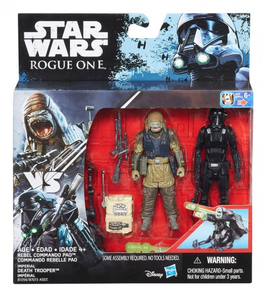 Star Wars Rogue One Actionfiguren 10 cm 2-Pack Rebel Commando Pao vs. Imperial Death Trooper